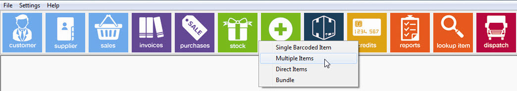 Inventory management software system toolbar showing Multiple Item Booking In selection