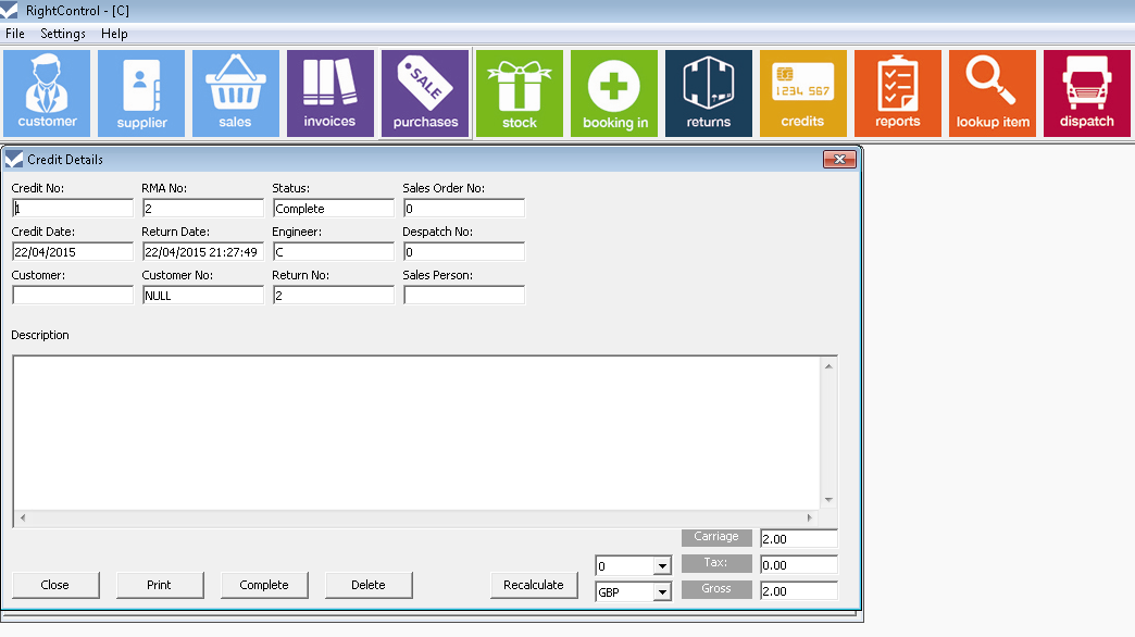 credits2 inventory management software